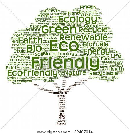 Concept or conceptual green text word cloud as tree isolated on white background, metaphor to nature, ecology, energy, natural, life, world, global, protect, environmental, biofuel or recycling