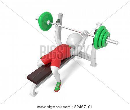 Little white  weight-lifter