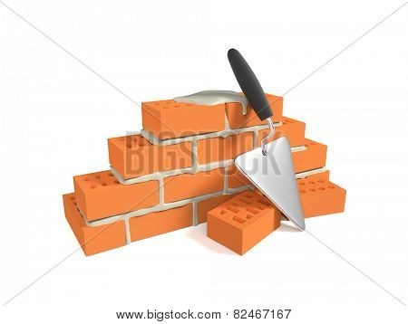 Stack of red bricks and a pallet