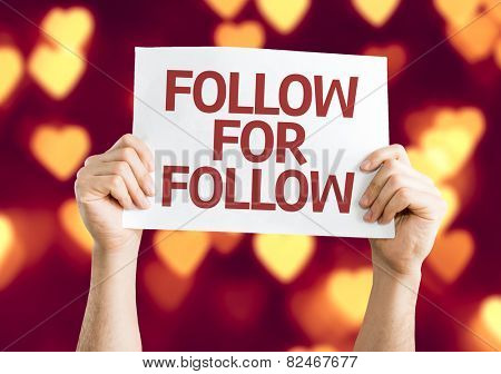 Follow for Follow card with heart bokeh background