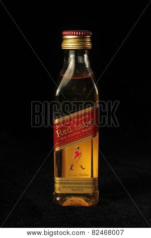 MONTREAL, CANADA - FEBRUARY 01, 2015:  Johnnie Walker is a brand of Scotch Whisky, the most widely distributed brand of blended Scotch whisky in the world.