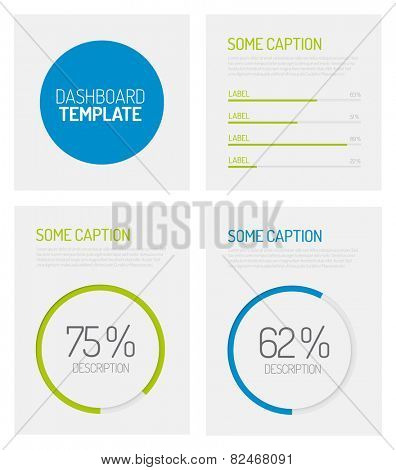 Simple infographic dashboard template with flat design graphs and charts - green and blue version