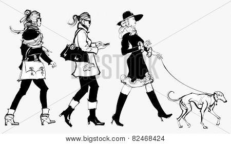 women walking in a street - vector illustration