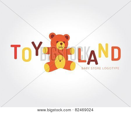 Abstract bear toy vector logo template for branding and design