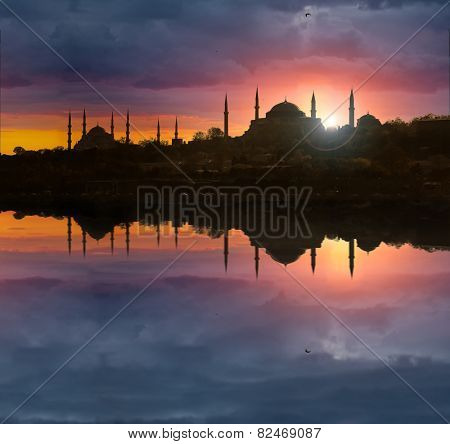 Sunset over iconic Istanbul silhouette