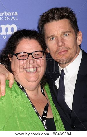 SANTA BARBARA - FEB 5:  Carol Marshall, Ethan Hawke at the Santa Barbara International Film Festival - American Riviera Award at a Arlington Theater on February 5, 2015 in Santa Barbara, CA