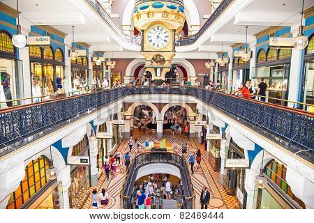 SYDNEY, AUSTRALIA-DEC 21, 2014: People shop at Queen Victoria Building (QVB) on Dec 31,2014 in Sydney, Austalia. It is a late nineteenth-century building designed by the architect George McRae.