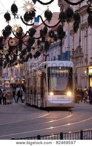 GRAZ, AUSTRIA - JANUARY 10, 2015: Tramway in the downtown in Graz, Austria. Graz is the capital of federal state of Styria and the second largest city in Austria on January 10, 2015.