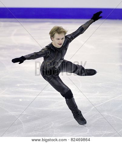 BARCELONA - DEC, 13: Sergei Voronov of Russia during Men Free Skating event of ISU Grand Prix of Figure Skating Final 2014 on December 13, 2014 in Barcelona, Spain
