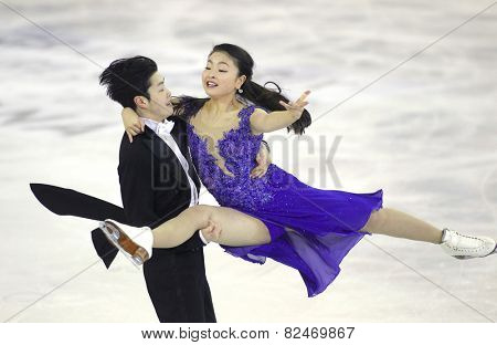 BARCELONA - DEC, 13: Maia Shibutani Alex Shibutani from USA during Pairs Ice Dance event of ISU Grand Prix of Figure Skating Final 2014 in Barcelona at CCIB on December 13, 2014 in Barcelona, Spain