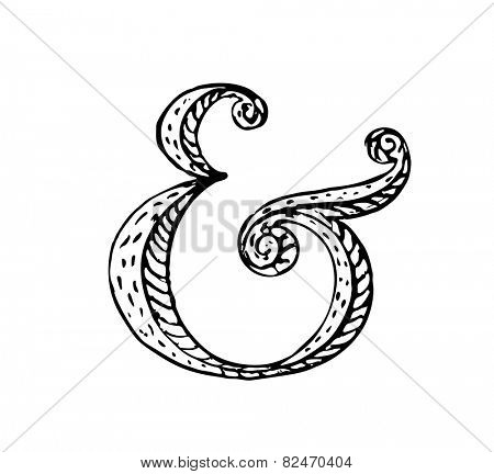 Hand lettering ampersand. Vector illustration