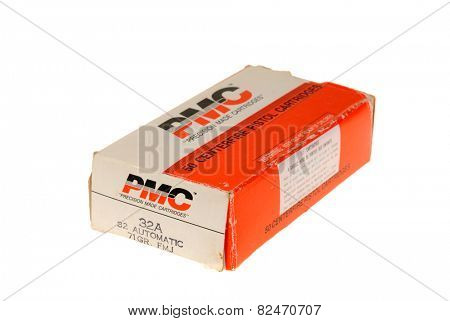 Hayward, CA - February 3, 2015: box of PMC 32 Auto 71 grain full metal jacket ammunition - illustrative editorial