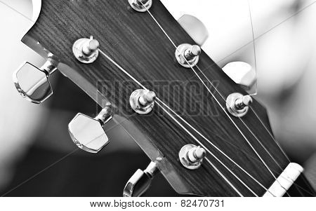 Acoustic Guitar Headstock Close Up, Black and White