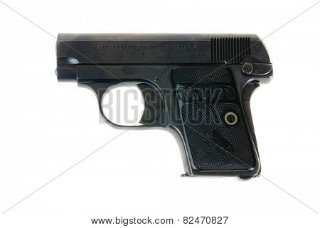 Hayward, CA - February 3, 2015: Colt .25 semi-automatic pistol isolated on white - illustrative editorial