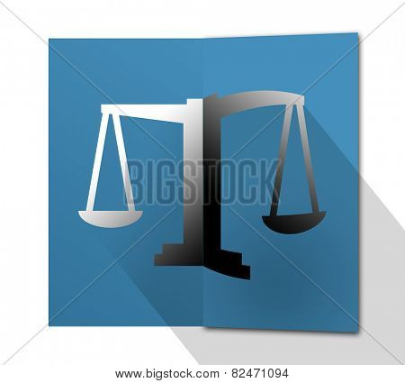 Folded card with justice scales symbol