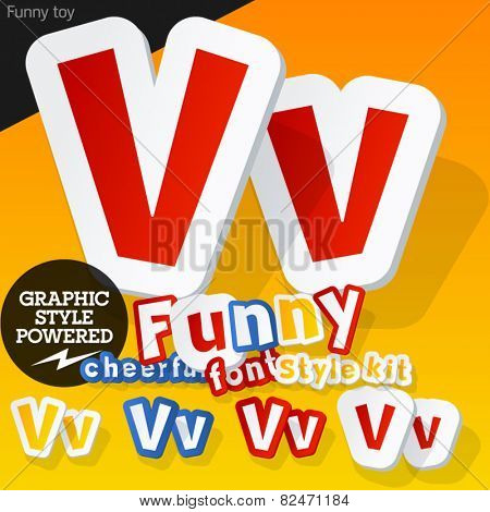 Vector font in shape of funny toys or cartoon elements. Letter V