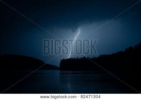Lightning storm on a lake
