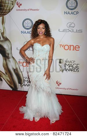 LOS ANGELES - FEB 6:  Wendy Raquel Robinson at the 46th NAACP Image Awards Arrivals at a Pasadena Convention Center on February 6, 2015 in Pasadena, CA