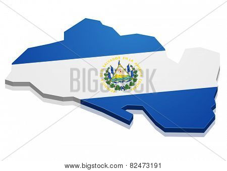detailed illustration of a map of El Salvador with flag, eps10 vector