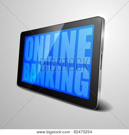 detailed illustration of a tablet computer device with online banking text, eps10 vector