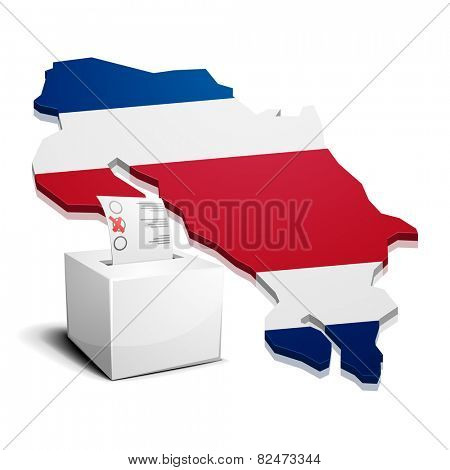 detailed illustration of a ballot box in front of a map of Costa Rica, eps10 vector