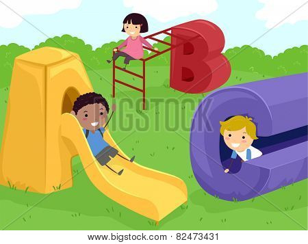 Stickman Illustration of Kids Playing in a Playground