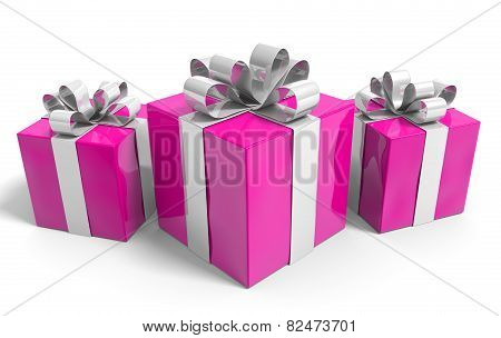 Valentines Day gift boxes neatly wrapped with shiny ribbons