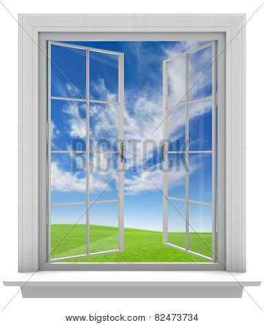 Open window allowing fresh spring air into the home