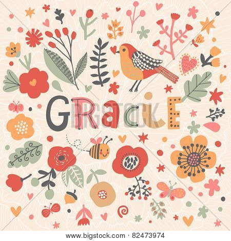 Bright card with beautiful name Gracie in poppy flowers, bees and butterflies. Awesome female name design in bright colors. Tremendous vector background for fabulous designs