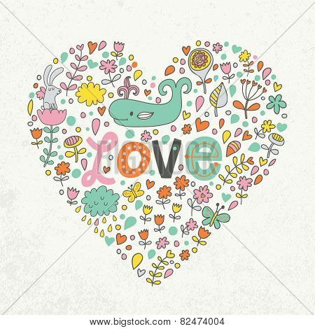 Awesome romantic concept card in modern stylish colors. Heart shape made of romantic signs: hearts, flowers, girl, whale, clouds, stars and butterflies in vector. Ideal for Save the Date invitations