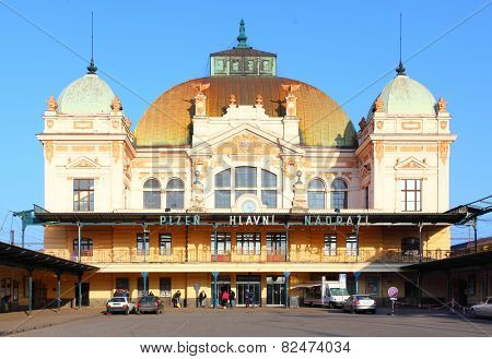 PILSEN CZECH REPUBLIC - FEBRUARY 6, 2015: Secession building of main railway station in Pilsen built in 1907year architect Rudolf Stecha.