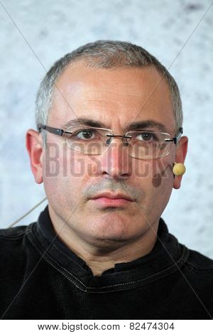 PRAGUE, CZECH REPUBLIC - OCTOBER 13, 2014: Russian former oil tycoon and political prisoner Mikhail Khodorkovsky attends the Forum 2000 conference in Prague, Czech Republic.