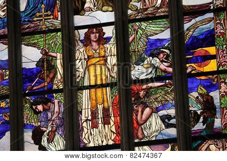 KUTNA HORA, CZECH REPUBLIC - AUGUST 23, 2014: Last Judgment, an Art Nouveau stained glass window by Czech artist Frantisek Urban in Saint Barbara Church in Kutna Hora, Czech Republic.