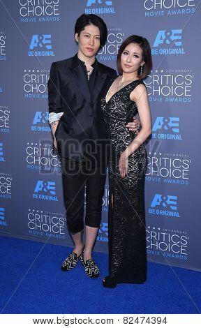 LOS ANGELES - JAN 16:  Takamasa Ishihara & Melody Miyuki Ishikawa arrives to the Critics' Choice Awards 2015  on January 16, 2015 in Hollywood, CA