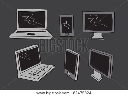 Computer Laptop And Mobil Phone Icons In Vector Cartoon Style