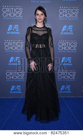LOS ANGELES - JAN 16:  Felicity Jones arrives to the Critics' Choice Awards 2015  on January 16, 2015 in Hollywood, CA