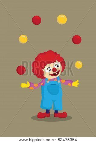 Juggling Clown Vector Cartoon Character