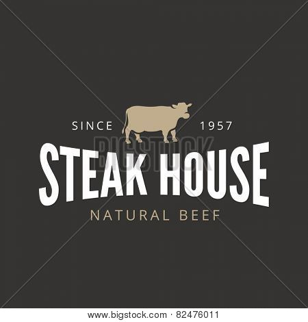 Beef Steak Logo Vintage Retro Label design vector template. BBQ Grill Restaurant Bar Cafe Badge Stamp Logotype concept. Cow silhouette icon.