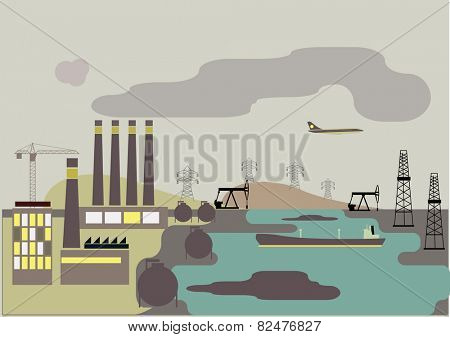 Industrial landscape. Plant or factory. Ecology. Pollution. Vector flat illustration