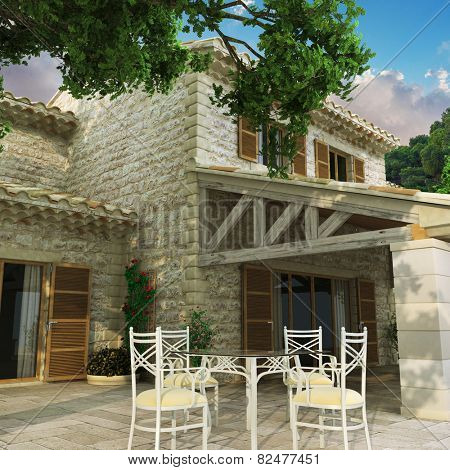 3D rendering of a magnificent villa with huge beautiful front yard