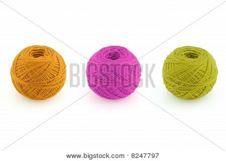 Spools of yarn