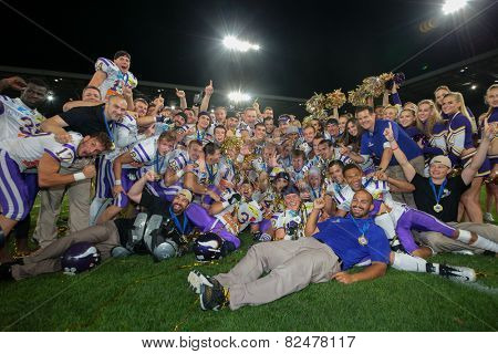 INNSBRUCK, AUSTRIA - JULY 6 The team of the Vienna Vikings celebrates the victory at Euro Bowl XXVII on July 6, 2013 in Innsbruck, Austria.