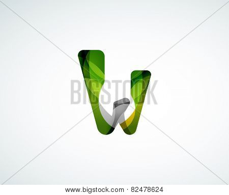 Abstract letter W logo design of color pieces, overlapping geometric shapes.  Light and shadow effects
