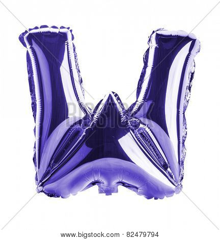 Purple foil balloon letter part of full set in the shape of a capitol W