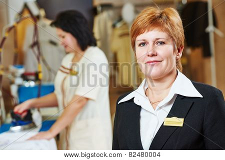 Portrait of hotel linen cleaning service manager.