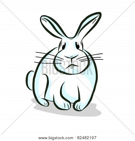White rabbit hand drawing vector