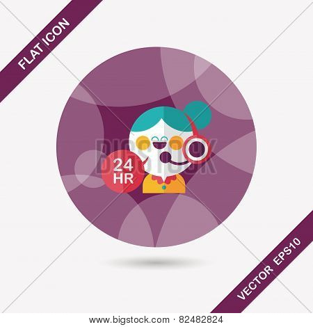 24 Hours Customer Phone Service Flat Icon With Long Shadow,eps10