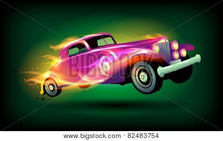 Retro racing car cartoon design.