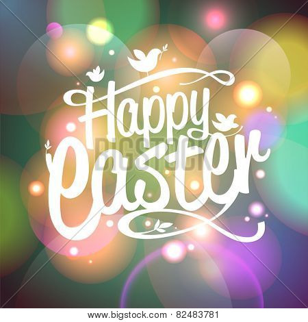 Happy Easter card with bokeh lights. Eps10.
