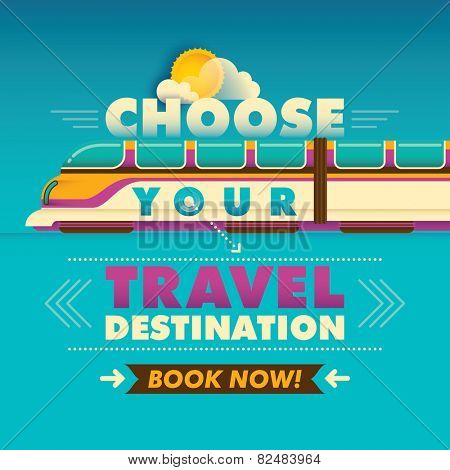 Travel background with train. Vector illustration.